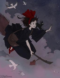Фото Kiki / Кики и Jiji / Джиджи из аниме Kikis Delivery Service / Ведьмина служба доставки, by IrenHorrors
