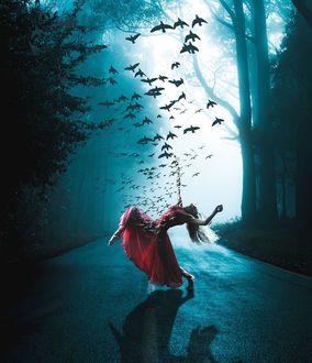 Фото Девушка в красном платье с птицами над ней на дороге