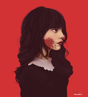 Фото Девушка с кровью на щеке, by Vinci Dionela