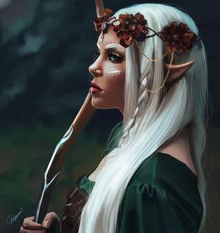 Фото Эльфийка с посохом в руках и цветами в волосах, by Meva E