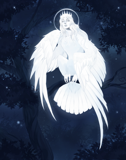 Фото Девушка в виде белой птицы с нимбом сидит на ветке ночью, art by society6