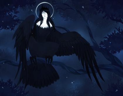Фото Девушка в виде черной птицы с нимбом сидит на ветке ночью, art by society6