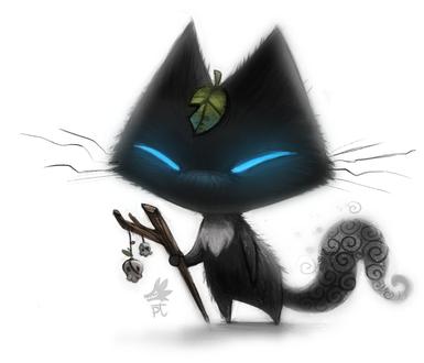 Фото Черный кот с голубыми глазами листиком на голове и палочкой украшенными черепами, by Cryptid-Creations