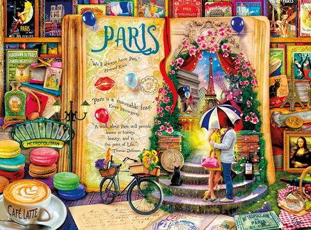 Фото Раскрытая книга о Париже среди других разноцветных открыток и книг (Paris / Париж)