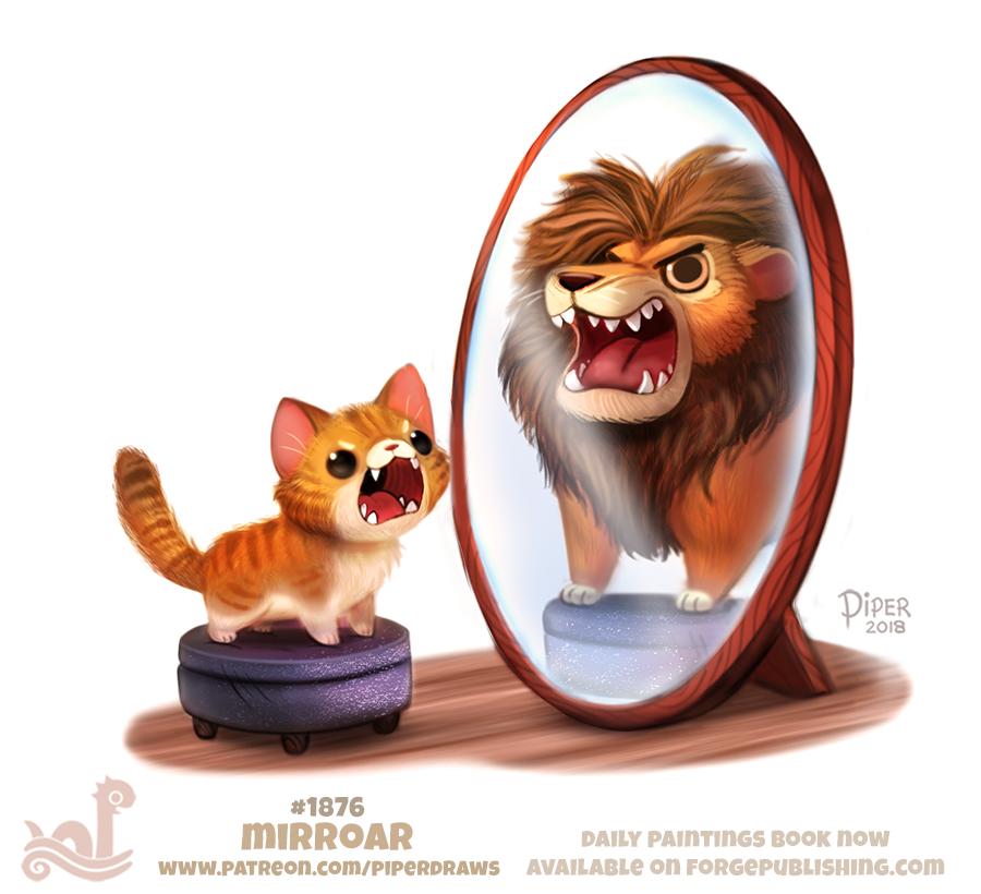 картинка кот в зеркале лев любит пустынные