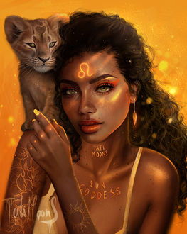 Фото Девушка с львенком на плече и знаком льва во лбу, by Tati Moons