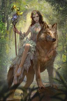 Фото Лесная эльфийка с жезлом верхом на волке, art by yakun wang