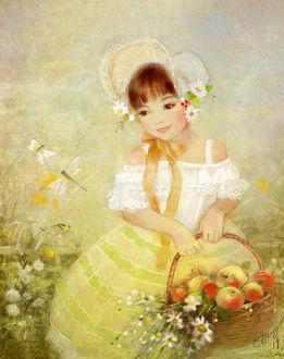 Фото Девочка в шляпке с корзинкой яблок и ромашек в руках смотрит на стрекоз, by Catherine Babok