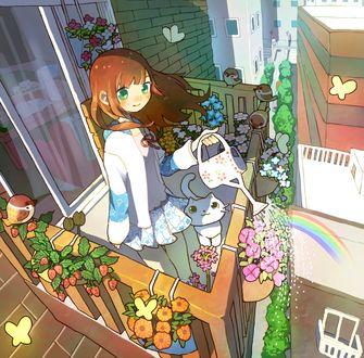 Фото Рыжая девочка поливает из лейки цветы на своем балконе, рядом сидит белый котенок, порхают бабочки и воробушки, by Tao