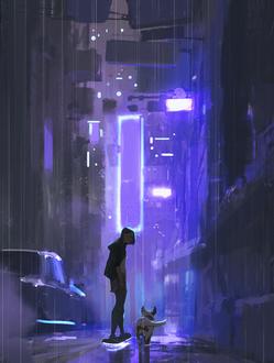 Фото Девушка с собакой на вечерней улице города, by snatti