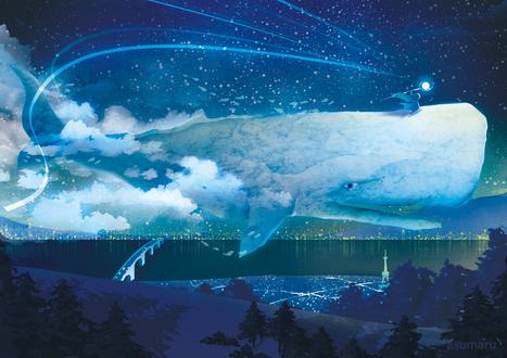 Фото Девочка, со светящимся посохом в руке, летит по небу, сидя на ките, над ночным городом, by asumaru