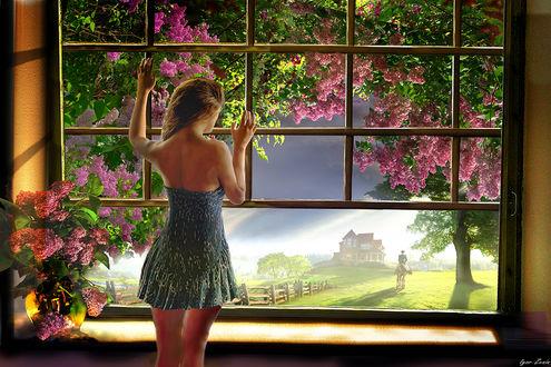 Фото Девушка стоит у окна, за которым цветет сирень. Фотограф Igor Zenin