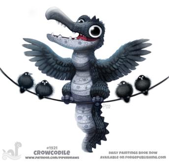 Фото Ворон-крокодил среди других воронов на веревке, by Cryptid-Creations