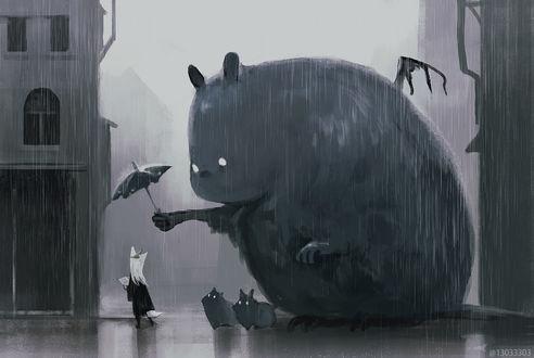 Фото Черный монстрик держит зонтик над девочкой-лисичкой