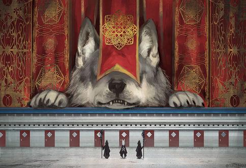 Фото Трое людей, один из которых с лисьими ушками, стоят напротив огромного волка