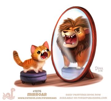 Фото Рычащий рыжик кот на пуфике видит себя в зеркале львом, by Cryptid-Creations