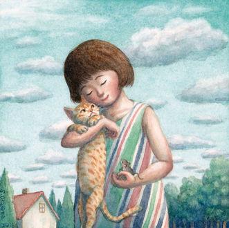 Фото Девочка с кошкой и мышкой в руках, by perodog