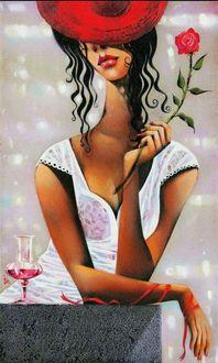 Фото Девушка с розой в руке. Греческая художница Ира Тсантекиду / Ira Tsantekidou