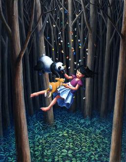 Фото Девочка с кроликом и пандой парит в воздухе, в лесу, by perodog