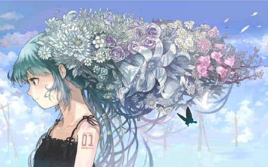 Фото Vocaloid Miku Hatsune / Вокалоид Мику Хатсуне с большим букетом цветов в волосах на фоне неба