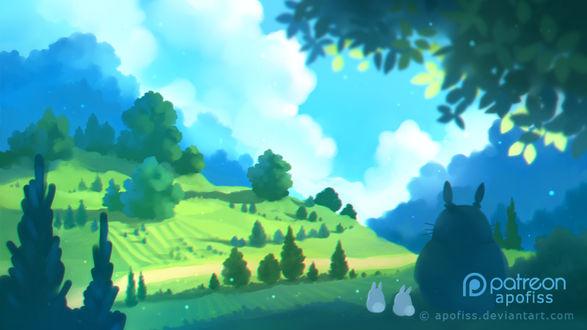 Фото Totoro / Тоторо и Chibi Totoro / Маленький Тоторо из аниме Мой сосед Тоторо / My Neighbor Totoro, by Apofiss