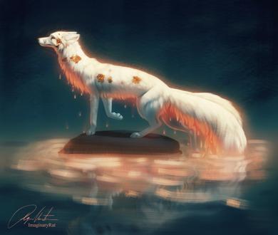 Фото Лиса-дух озера выходит из воды, by Imaginary-Rat