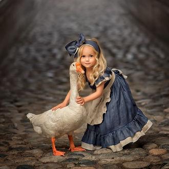 Фото Девочка и гусь стоят на булыжной дороге, фотограф Елена Михайлова