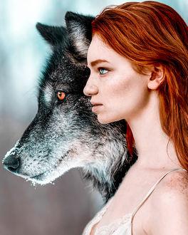 Фото Рыжеволосая девушка и волк, by Claire Luxton