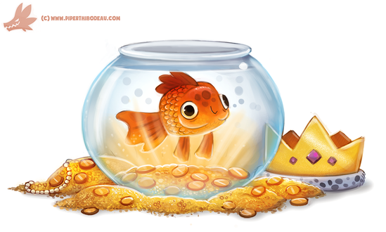 Фото Золотая в аквариуме стоящее на золоте, by Cryptid-Creations