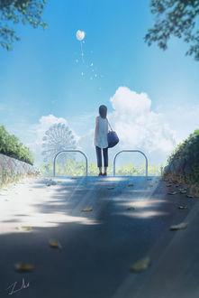 Фото Девушка смотрит на белый разбитый шарик в небе, by Tamaki