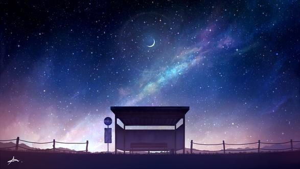 Фото Остановка под ночным небом, by ALPCMAS