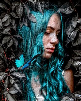Фото Девушка с голубыми волосами за листвой, by claireluxtonstudio