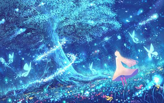 Фото Девушка в сказочном ночном лесу, by bounin