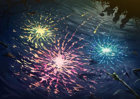 Фото Отражение в воде детей и фейерверков, by NOEYEBROW-NOTRE