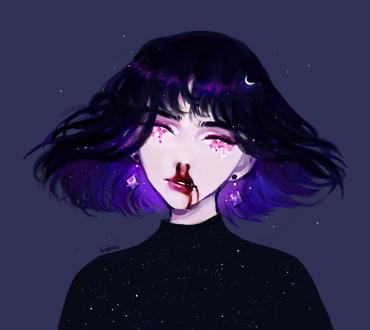 Фото У девушки из носа идет кровь, by batsu-nozuchi