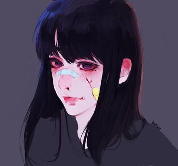 Фото Темноволосая девушка с пластырем на лице, by batsu-nozuchi
