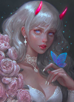 Фото Девушка с голубыми глазами, с рожками на голове, с голубой бабочкой на руке, by serafleur