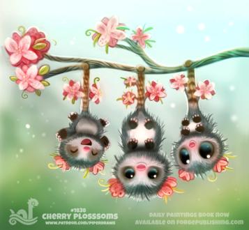 Опоссумы свисающие на веточки вишни вниз головой, by Cryptid-Creations