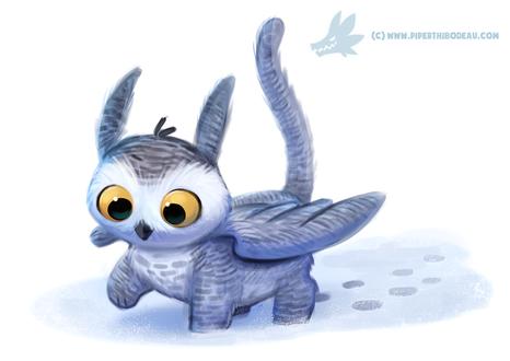 Фото Сова-гриффин идет по снегу оставляя следы, by Cryptid-Creations