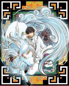 Фото Hakutaku / Хакутаку из аниме Хладнокровный Хозуки / Hoozuki no Reitetsu сидит рядом с трехглазым белым конем