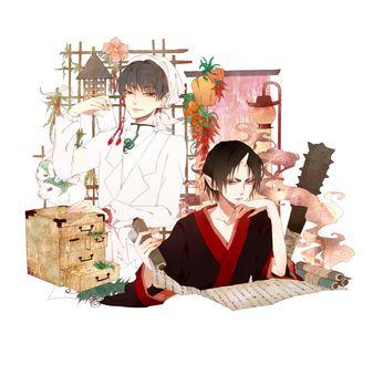 Фото Hakutaku / Хакутаку и Хозуки / Hoozuki за работой из аниме Хладнокровный Хозуки / Hoozuki no Reitetsu