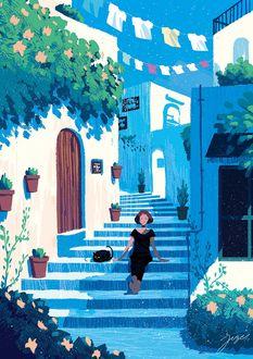 Фото Девушка с кошкой сидят на ступеньках