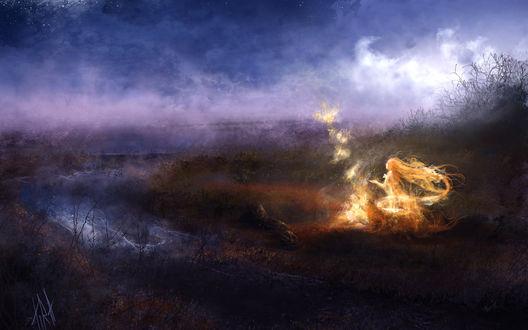Фото Рисунок девушки духа огня, играющая с огненными бабочками, на берегу реки ночного леса