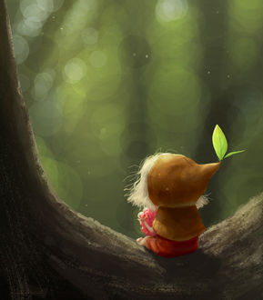 Фото Маленькая фэнтезийная девочка, с листиками на капюшоне, сидит на дереве к нам спиной, by Masae Seki