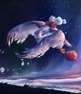 Фото Санта-Клаус / Santa Claus летит на большой белой сове по ночному небу, by Thomas Chamberlain - Keen
