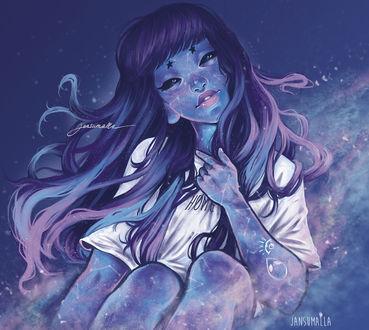 Фото Девушка с длинными волосами и черными глазами, олицетворяющая созвездие Андромеды (home / дом), by Jan Sumalla