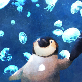 Пингвиненок плавает среди медуз, держа маму за лапу, by nao