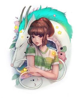 Фото Тихиро / Chihiro и Хаку / Haku из аниме Унесенные Призраками / Spirited Away, by Toshia-san