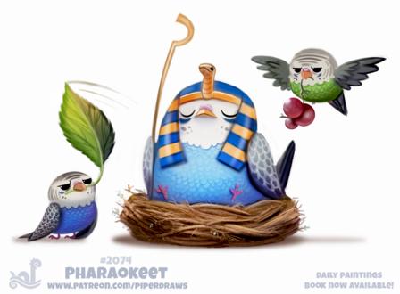 Фото Птица-фараон среди других птиц, by Cryptid-Creations