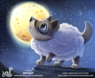 Фото Волк-овца стоит на сколе пр полной луне, by Cryptid-Creations